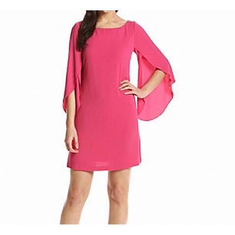 Jessica Simpson Womens Shift Dress Pink Size 4 Chiffon Split-Sleeve