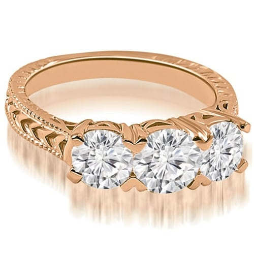 1.50 cttw. 14K Rose Gold Vintage Three-Stone Round Cut Diamond Engagement Ring