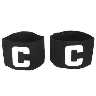 Hook Loop Closure Stretchy Team Football Tension Captain Armband Black 2pcs