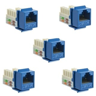 5 Pack Lot Cat5e Keystone Jack Blue Toolless Network Ethernet Port by BattleBorn