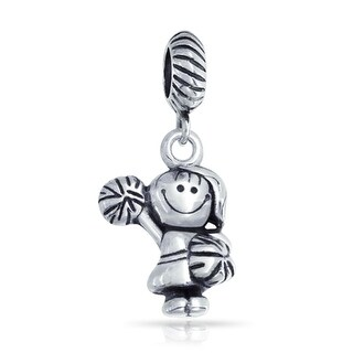 Bling Jewelry Cheerleader Girl Sport Dangle Bead Charm .925 Sterling Silver
