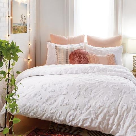 Miya Tufted Cotton Leopard Print Comforter and Sham Set