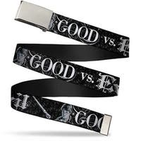 Blank Chrome Bo Buckle Harry Potter Good Vs. Evil Black White Webbing Web Belt