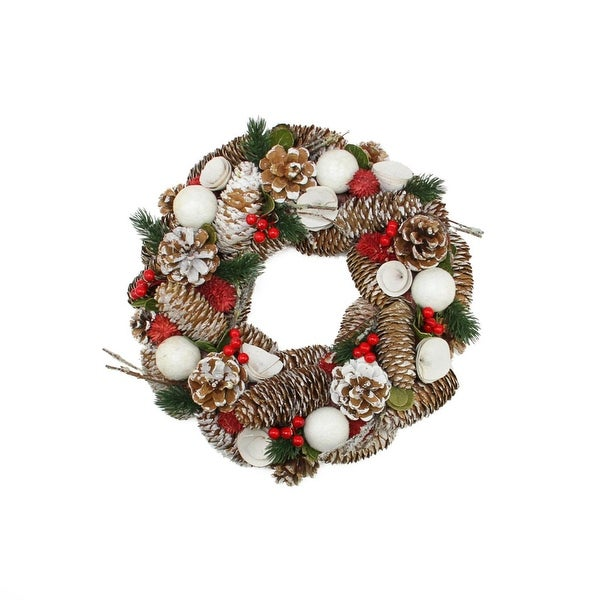 """13.5"""" Frosted Pine Cone, Twigs and Berries Artificial Christmas Wreath - Unlit"""
