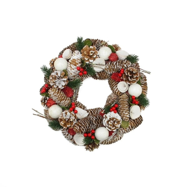 "20"" Frosted Pine Cone, Twigs and Berries Artificial Christmas Wreath - Unlit - brown"