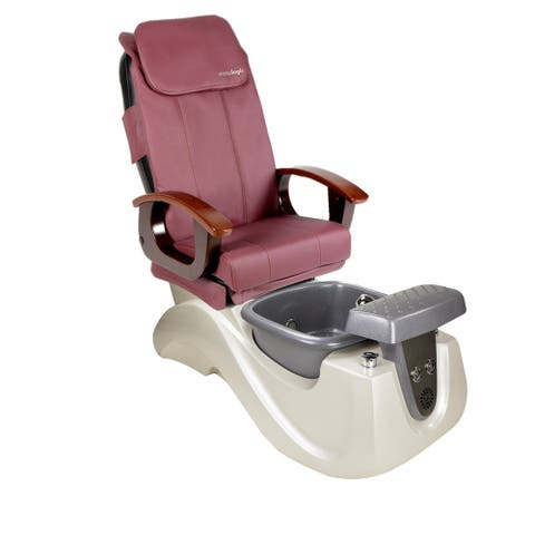 Pedicure Massage Chair SERENITY II White/Silver Tub, PI Full Function Massage Chair, Burgundy Cover Set