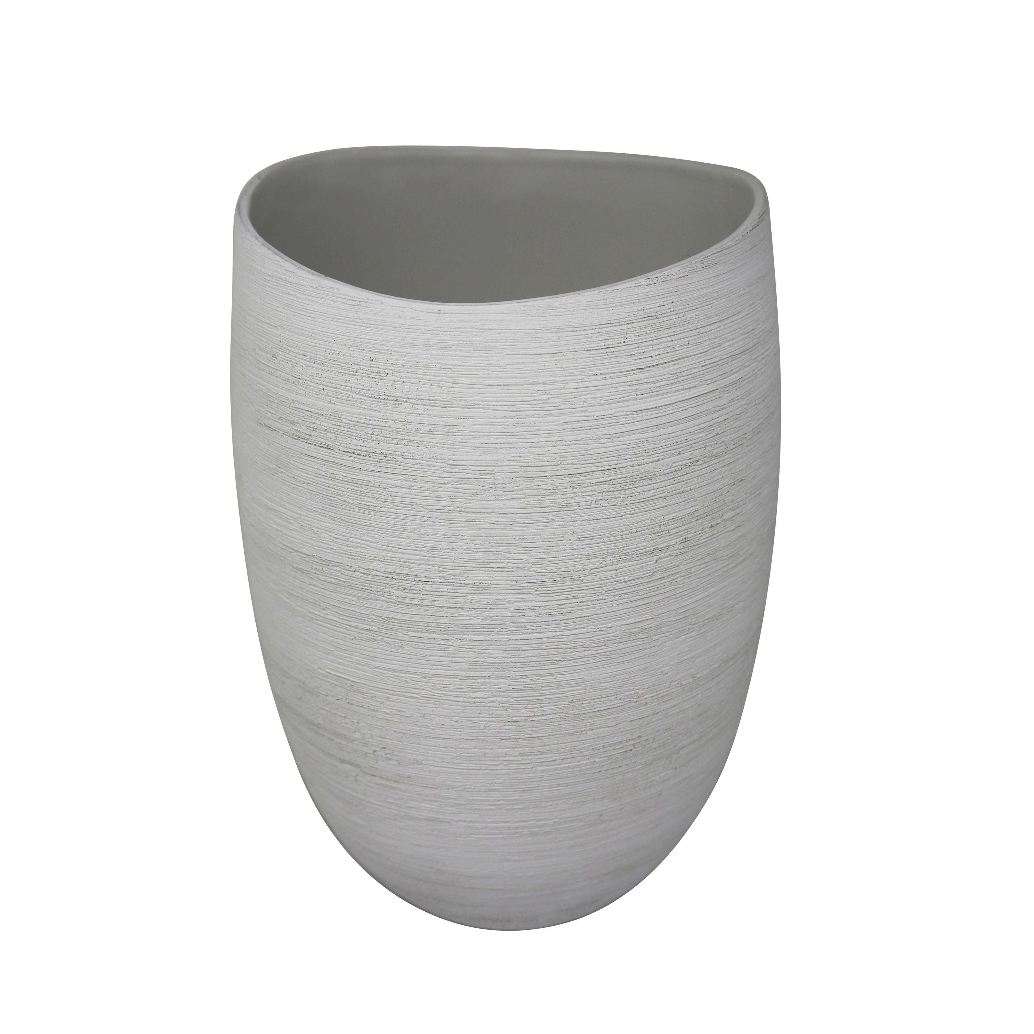 Ceramic Tapered Vase with Distressed Details, Large, White