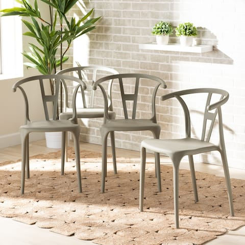 Warner Modern and Contemporary 4-Piece Plastic Dining Chair Set