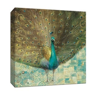 "PTM Images 9-152870  PTM Canvas Collection 12"" x 12"" - ""Teal Peacock on Gold"" Giclee Peacocks Art Print on Canvas"