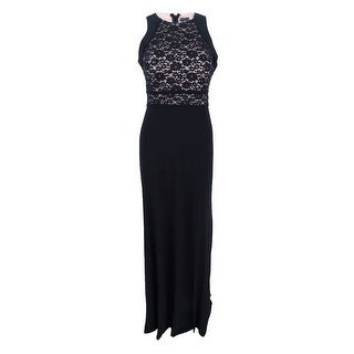 Nightway Women's Lace A-Line Gown - Black/nude