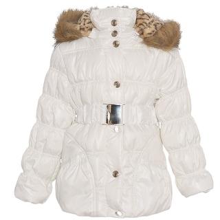 Urban Republic Little Girls White Fur Trim Belted Hooded Puffer Coat