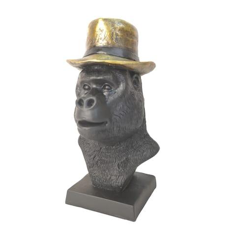 "8"" Gorilla Head W/ Hat Sculpture, Black - 4Wx5Lx8H"