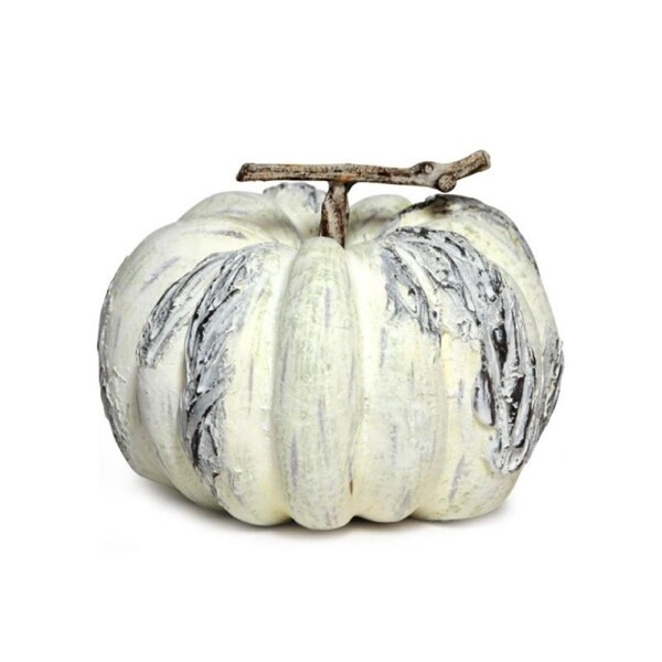 "5"" Pale Yellow and Gray Pumpkin Thanksgiving Fall Tabletop Decor - N/A"