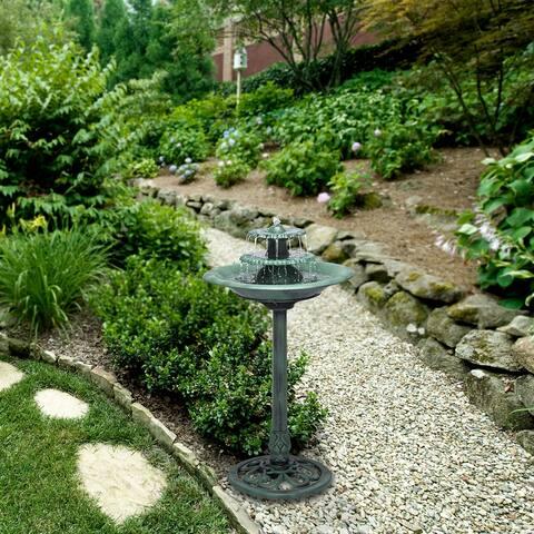 Alpine 35-Inch Outdoor 3-Tiered Pedestal Water Fountain Birdbath, Green