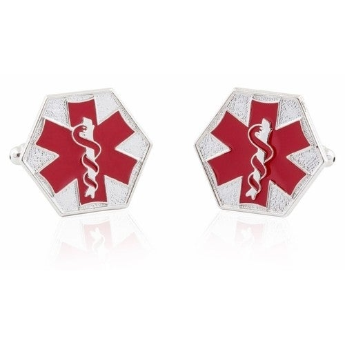 Emt Star Of Life Red Cufflinks