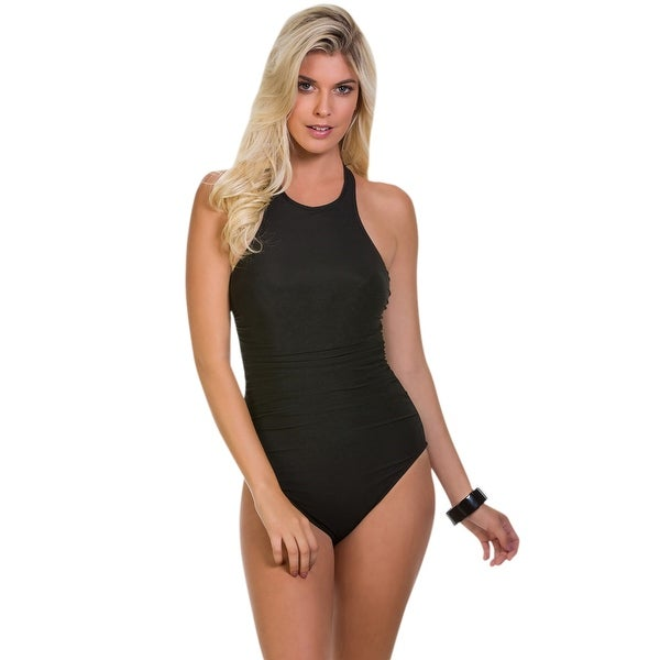 d4615124b1794 Shop Magicsuit Solid Black Danika Strappy Back Underwire One Piece Swimsuit  - Free Shipping Today - Overstock - 17662378