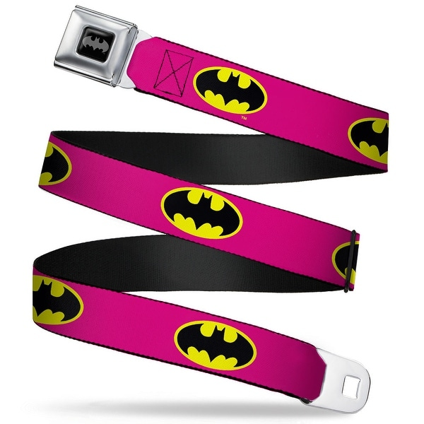 Batman Black Silver Batman Shield Fluorescent Pink Yellow Black Webbing Seatbelt Belt