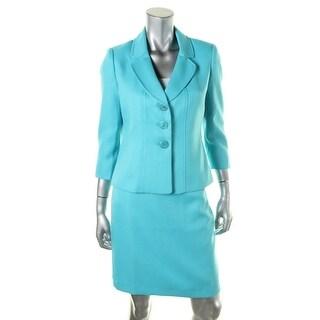 Le Suit Womens Petites Yacht Club Textured 2PC Skirt Suit - 8P