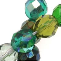 Czech Fire Polished Glass Beads 8mm Round 'Ever Green Mix' (50)