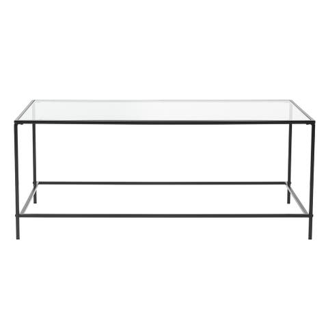 """HomeRoots 43.76"""" X 20.76"""" X 17.88"""" Coffee Table in Clear Glass with Black Base - 43.76"""" X 20.76"""" X 17.88"""""""