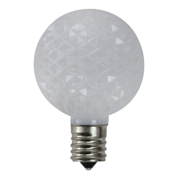 Pack of 25 Faceted LED G50 White Christmas Replacement Bulbs