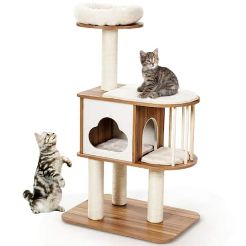 Gymax 46'' Modern Wooden Cat Tree with Platform & Washable Cushions