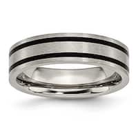 Titanium Enameled Grooved Flat 6mm Polished Band