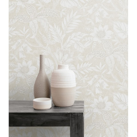 Seabrook Designs Boho Rhapsody Rainforest Leaves Unpasted Wallpaper