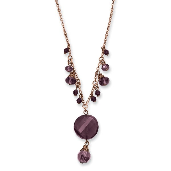 Rosetone Dark Red Crystal Drop Necklace - 16in