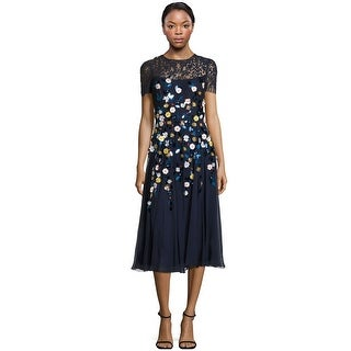 Teri Jon Floral Embellished Lace Bodice Cocktail Evening Dress Navy