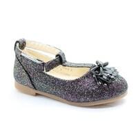 e6bab2881f95 Shop Little Girls Silver Glitter Bow Adorned T-Strap Dress Shoes ...