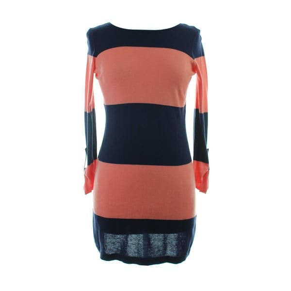 d166db19c0b Shop Tommy Bahama Navy Coral Bold Stripe Sweater Cover Up M - Free ...