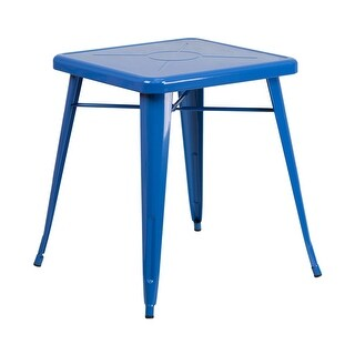 Offex 23.75'' Square Blue Metal Indoor-Outdoor Table [OF-CH-31330-29-BL-GG]