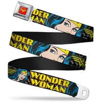 Wonder Woman Logo Full Color Red Wonder Woman W Face Close Up Leopard Black Seatbelt Belt