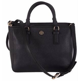 e51198e57a4576 Tory Burch 41159710 Black Saffiano Leather Robinson Mini Square Tote Purse  - 9.36