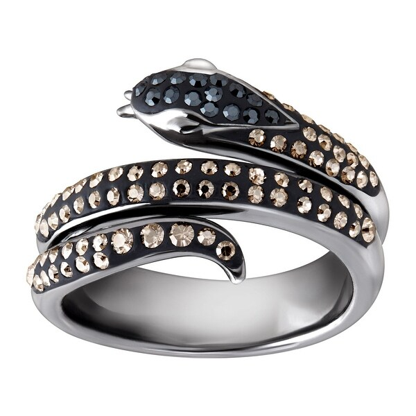 52a97b9db Shop Crystaluxe Snake Ring with Black & Silver Mist Swarovski Crystals in  Black Rhodium-Plated Sterling Silver - grey - On Sale - Free Shipping On  Orders ...