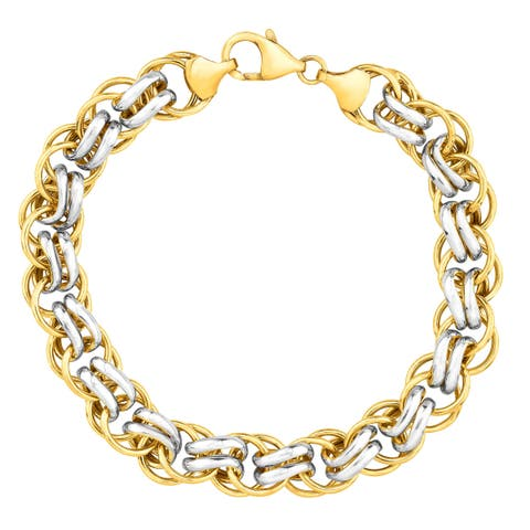 Double-Link Bracelet in 14K Gold-Bonded Sterling Silver - Two-Tone