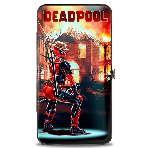 Marvel Universe Deadpool Issue #34 Burning House Twerk Cover Pose Hinged Hinge Wallet - One Size Fits most
