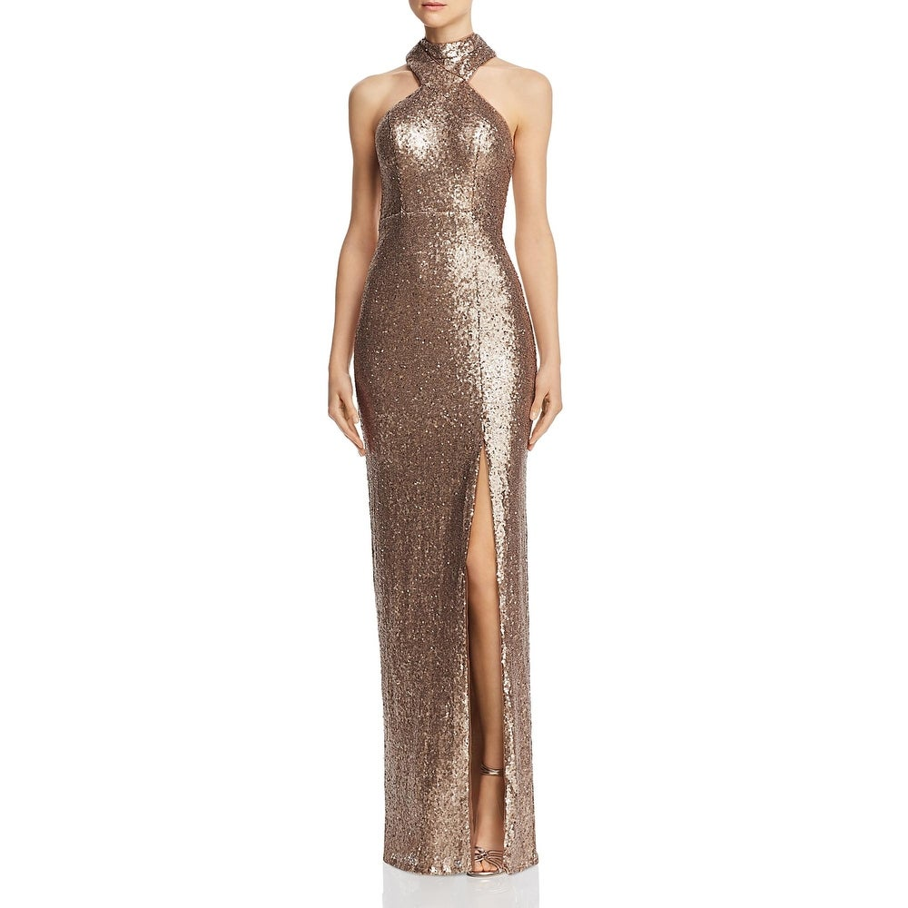 Bariano Womens Jorja Formal Dress Sequined Sleeveless - Gold