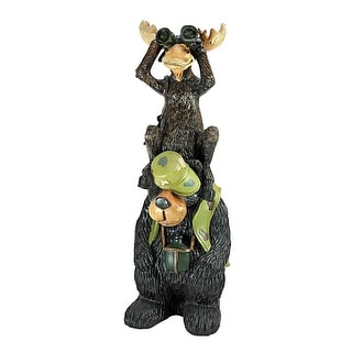 Design Toscano Back Woods Hunting Buddies, Moose and Bear Statue