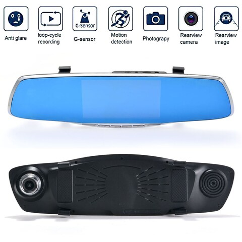 Dual Lens Car Camera, AGPtek Rear View Reverse Mirror Backup Camera, 1080P Full HD Dash Cam Car Recordering System