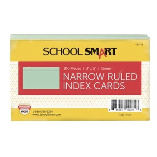 School Smart 90# Ruled Index Card, 3 x 5 Inches, Green, Pack of 100