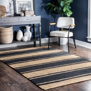 Link to nuLOOM Marilyn Bold Stripe Hand Woven Jute Area Rug Similar Items in Rugs