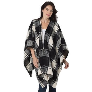 Linea Domani Womens Poncho Sweater Checkered Open Front - o/s