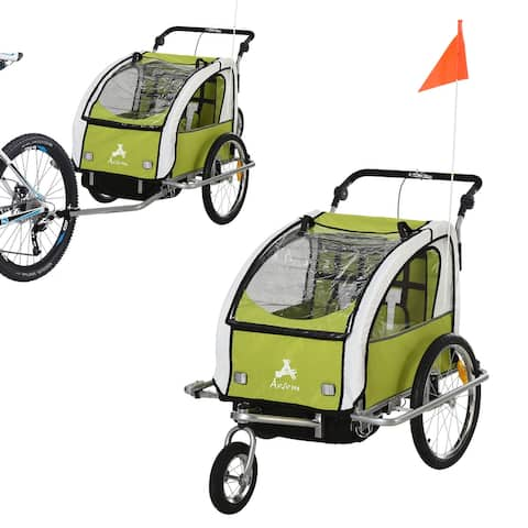 Aosom Elite 360 Swivel 2-in-1 Double Child Two-Wheel Bicycle Cargo Trailer and Jogger with 2 Safety Harnesses