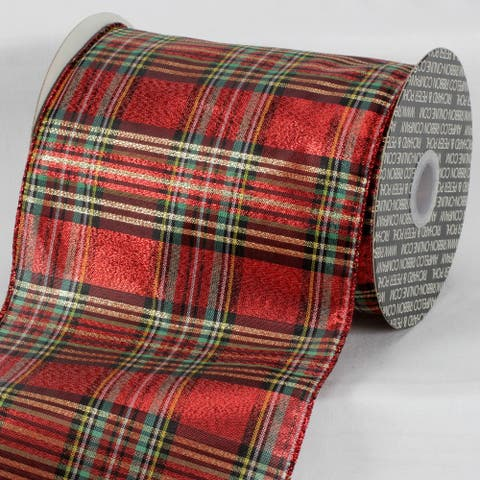 "Red and Green Plaid Wired Edge Craft Ribbon 6"" x 20 Yards"