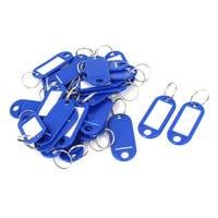 Unique Bargains 30 Pcs Metal Split Ring Plastic Key ID Name Label Keyring Keychain Blue