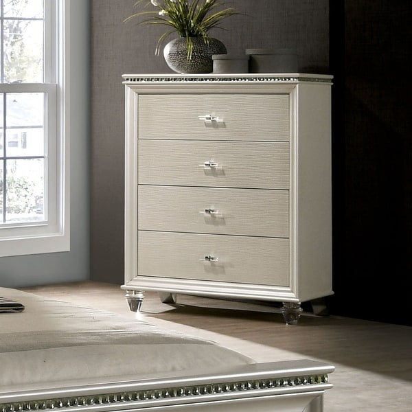 Silver Orchid Allenby Pearl White 4-drawer Chest. Opens flyout.