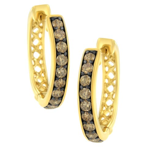 10K Yellow Gold and Black Rhodium 1 Cttw Round-Cut Diamond Hoop Earring (Champagne Color, I1-I2 Clarity)