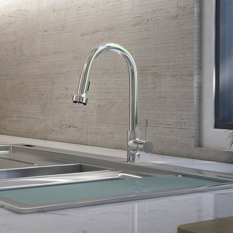St. Lucia Collection. Pull-Down kitchen faucet. Brushed Nickel finish. By Lulani